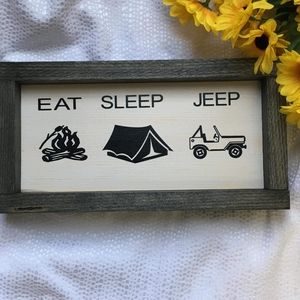 Hand Crafted | Eat Sleep Jeep Wall Sign Wall decor